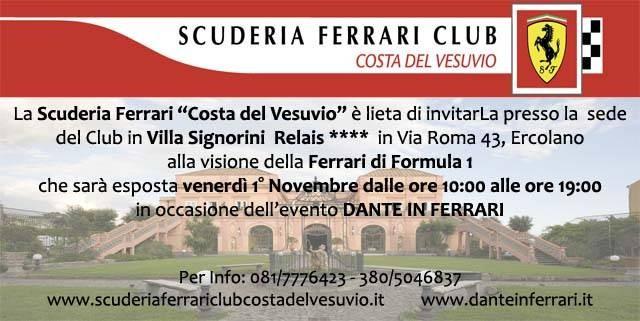 Invito per la visione della Ferrari f2002 di Formula 1 presso Villa Signorini